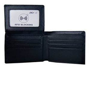 Aonal RFID Blocking Leather Wallet for Men - Excellent Travel Bifold - Credit Card Protector