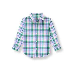Baby Boy Field Green Plaid Plaid Poplin Shirt at JanieandJack