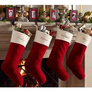 Velvet Stocking - Red with Ivory Cuff   Pottery Barn