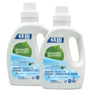 $18.69 Seventh Generation Natural Laundry Detergent Free and Clear Unscented 106 loads (2pk 40oz ea)