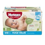 $13 Huggies Natural Care Baby Wipes, Refill, Unscented, Hypoallergenic, Aloe and Vitamin E, 648 Count