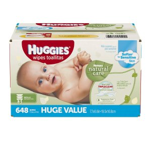 Huggies Natural Care Baby Wipes, Refill, Unscented, Hypoallergenic, Aloe and Vitamin E, 648 Count