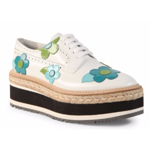 Prada - Flower Leather Brogue Platform Oxfords - saks.com