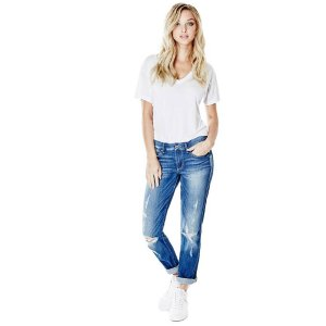 Jet Set Mid-Rise Straight Jeans in Bastillo Destroy Wash | GuessFactory.com