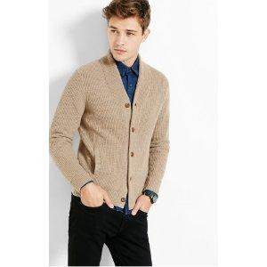 Wool Blend Solid Shawl Collar Cardigan