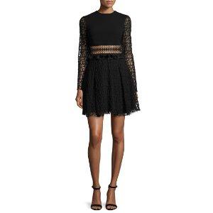 Jonathan Simkhai Embroidered-Mesh Mini Dress, Black