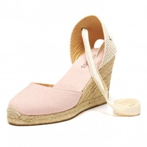 Soludos Blossom Pink Canvas Tall Wedge for Women - Soludos Espadrilles