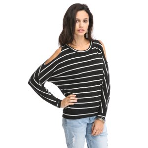 Chaser Stripe Cold Shoulder Pullover Sweater   South Moon Under