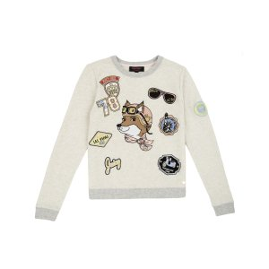 GIRLS FASHION TRACK TRAVELING FOX EMBROIDERED TRACK TOP
