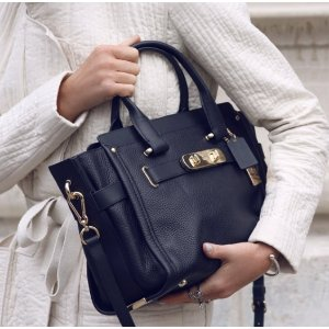 COACH Solid Leather Satchel