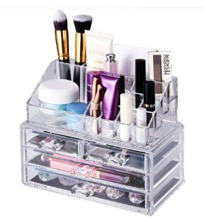 $12.74 Makeup Storage Organizer,Oak Leaf Cosmetic Organizer and Jewerly Display Box - 2 Large Drawers Space and 2 Small Drawers Space
