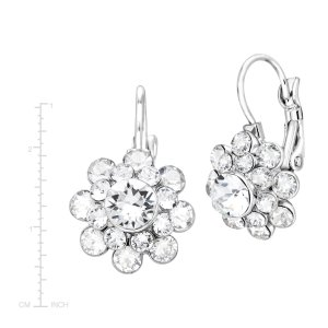 Flower Drop Earrings with Swarovski Crystals
