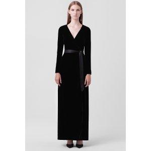 Julian Long Velvet Wrap Dress | Landing Pages by DVF
