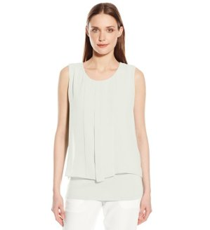 From $39.73 Calvin Klein Women's Sleeveless Top with Pleat Chiffon Overlay