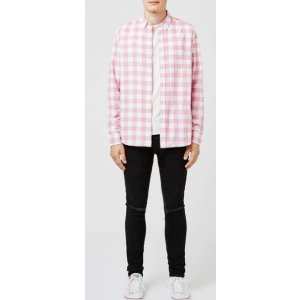Pink Check Button Down Casual Shirt