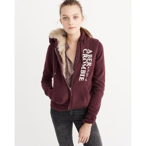 Womens Faux Fur Full-Zip Hoodie | Womens Clearance | Abercrombie.com