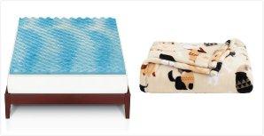 As Low As $30.09 The Big One Gel Memory Foam Mattress Topper & Super Soft Plush Throw