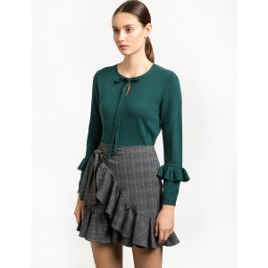Dark Green Neck Tie Ruffled Sweater