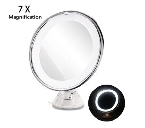 RUIMIO Lighted Makeup Mirror with 7X Magnification and Suction Base