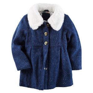 Baby Girl Faux Fur Lined Peacoat   Carters.com