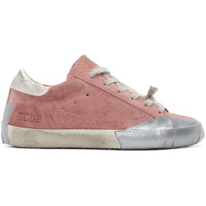 Golden Goose: Pink Suede Skate Superstar Sneakers