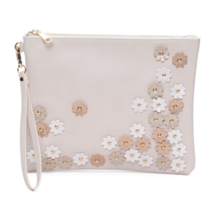 Pouch With Floral Accents - Clutches - T.J.Maxx