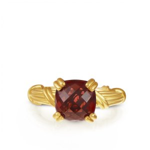 Peter Thomas Roth Ribbon & Reed Fantasies Garnet Solitaire Ring in 18K yellow gold