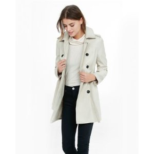classic trench coat with trapunto stitch sash