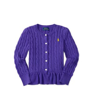 Combed Cotton Peplum Cardigan - Sweaters � Little Kid (sizes 2-6x) - RalphLauren.com