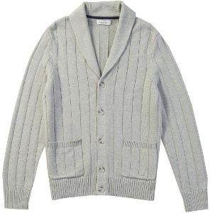 Wide Rib Shawl Neck Cardigan - Grey Heather