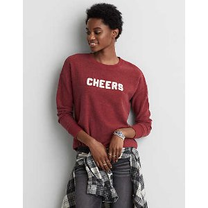 AEO Easy Graphic Fleece Sweatshirt, Red | American Eagle Outfitters