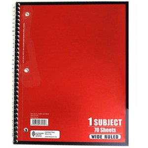 $0.17 70-Sheet Wide Ruled Subject 1 Notebook