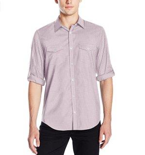 $12.32Calvin Klein Men's Gingham Print Roll Tab Long Sleeve Button Down Shirt