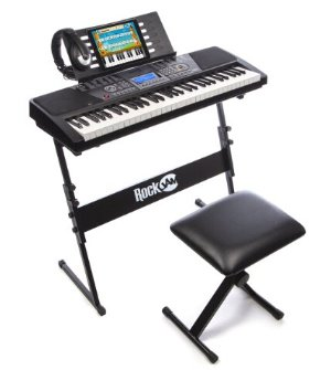 $119.99RockJam 61-Key Electronic Keyboard SuperKit with Stand, Stool, Headphones & Power Supply