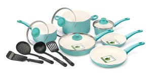 $79 GreenLife 14 Piece Nonstick Ceramic Cookware Set with Soft Grip, Turquoise