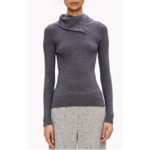 Merino Knit Button Turtleneck