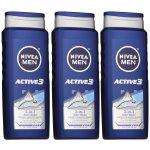 NIVEA Men Active3 3-in-1 Body Wash 16.9 Fluid Ounce (Pack of 3)
