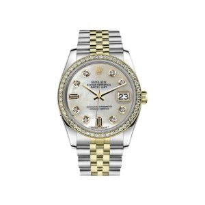 Rolex Datejust Stainless Steel/ 18K Gold White Mother Of Pearl 8+2 w Diamond 36mm Unisex Watch | Rolex | Buy at TrueFacet