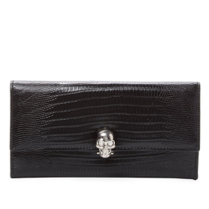 Skull Embossed Leather Continental Wallet by Alexander McQueen at Gilt