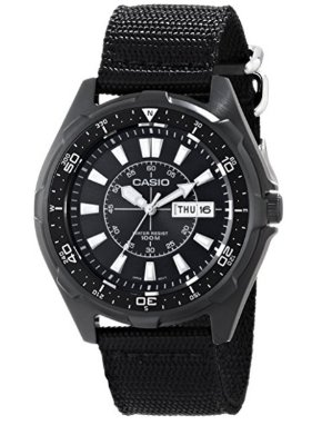 Casio Men's AMW110-1AV Classic Stainless Steel Watch With Black Nylon Band