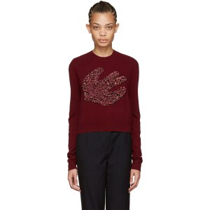McQ Alexander Mcqueen Burgundy Fringed Swallow Pullover