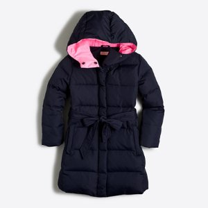 Girls' long belted puffer coat : Coats & Jackets | J.Crew Factory