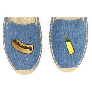 Soludos Jason Polan Hot Dog Embroidered Smoking Slipper in Denim Hot Dog - Soludos Espadrilles