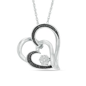Enhanced Black and White Diamond Accent Double Heart Pendant in Sterling Silver - Save on Select Styles - Zales