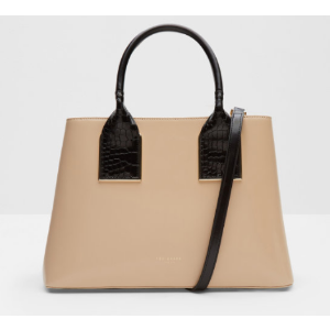 Metallic trim leather tote bag - Camel | Bags | Ted Baker