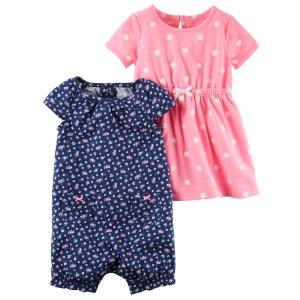 Baby Girl 2-Pack Dress & Romper Set | Carters.com