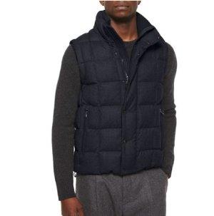 Moncler Tenay Box-Quilt Wool Vest, Navy @ Neiman Marcus