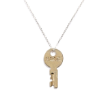 The Giving Keys 'Dainty - Fearless' 36-Inch Silver Key Pendant Necklace
