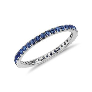 Riviera Pavé Sapphire Eternity Ring in 18k White Gold (1.5mm) | Blue Nile