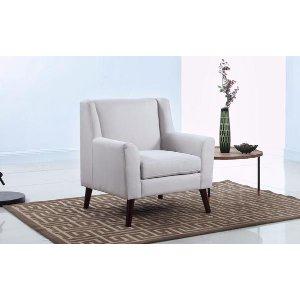 Mid Century Modern Fabric Living Room Accent Armchair - Beige - Sofamania
